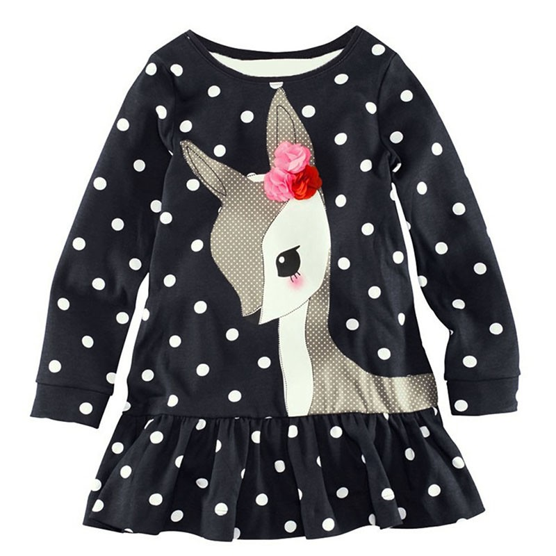 New Fashion 2-6Y Baby Girls Dress Cute Deer Long Sleeve Cotton Polka Dots Top Dress T-Shirt Clothes tie dye asymmetrical t shirt dress with long sleeve
