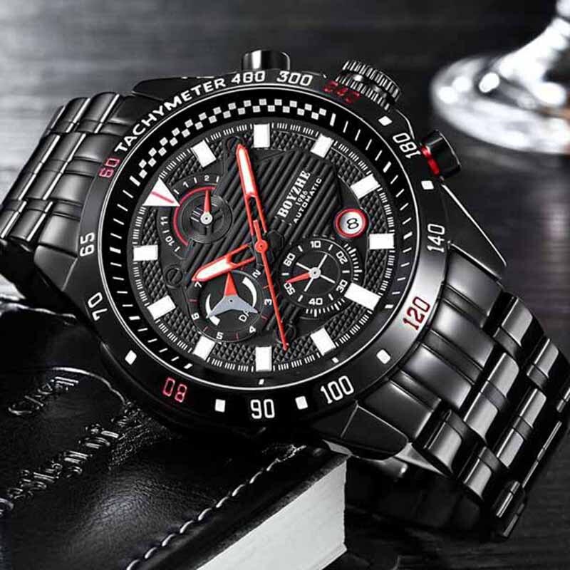 BOYZHE nouveaux hommes automatique mécanique haut tendance marque de luxe montre de Sport en acier inoxydable montre Relogio Masculino hommes \ x27s montre - 2