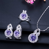OUSNOW Fashion Jewelry Multicolor Set from Austrian Zircon Pendant Necklace and Earring Set with Shiny Drop Shape Crystal
