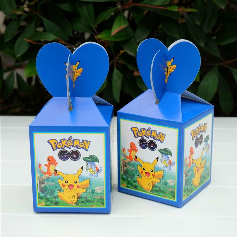 6pcs/lot Cartoon Anime pokemon go Pikachu Favor Box Gift Box Cupcake Box Kids Birthday Party Supplies Event Party Supplies