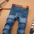 Nova Moda Sulee Marca calças de Brim Dos Homens Regulares Ajuste Reto Clássico Azul calça jeans Famosa Marca de Alta Qualidade Calças de Brim Dos Homens Plus Size 40