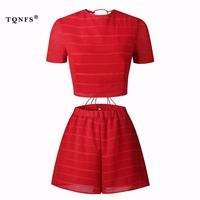 TQNFS Hollow Out Two Piece Set Women O Neck Short Sleeve Lace Women S Sets Casual