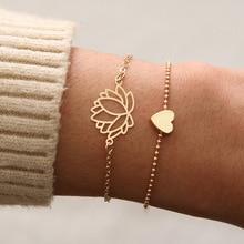 SLZBCY 2 unids/set Simple corazón Lotus flor encanto pulseras oro Color cadena pulsera para mujer chica 2019 Nueva joyería de moda