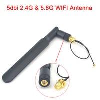 אנטנה 5dbi rp sma wifi 2.4Ghz / 5.8GHz Omni הלהקה כפול 5dbi אוויר RP SMA זכר אנטנה + מיני 1.13 PCI U.FL כדי RP SMA נקבה WiFi צמה בכבלים 17cm (1)