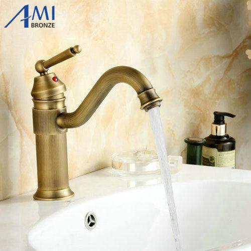 8 Antique Brass Faucets bathroom Basin Faucet crane swivel Kitchen sink mixer tap 9881A kitchen faucets 360 swivel antique brass porcelain mixer tap bathroom basin antique faucet