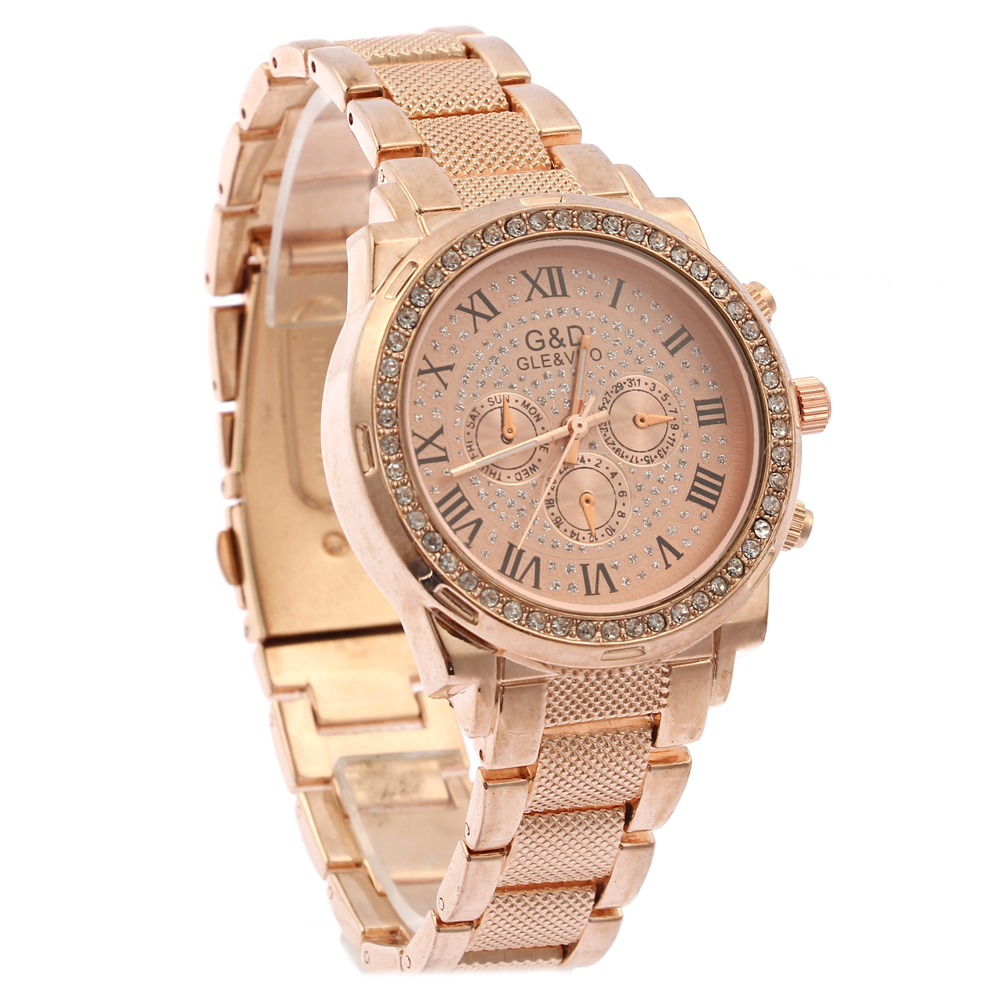 XG55 New Fashion Women's Watches Analog Quartz Wrist Watch Stainless Steel Band Roman Numbers Round Rose Gold 2016 new fashion watches men motion form mens watches stainless steel band sport quartz hour wrist analog watch birthday gifts
