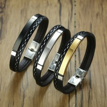 Multi Layer Leather Bracelets for Men Women Customizable Engraving Stainless Steel Bar Bangles Casual Personalized Pulseira