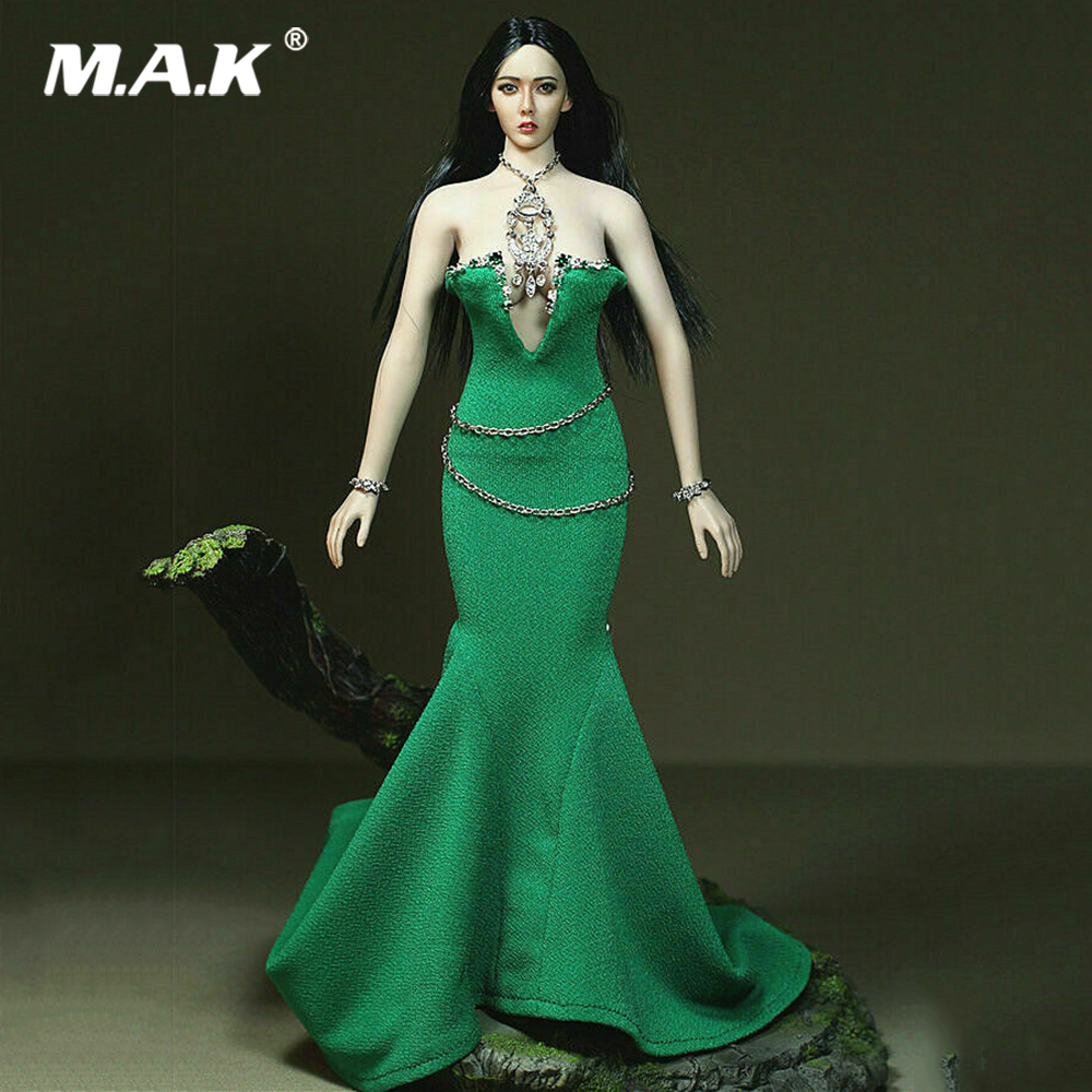 1//6 Female Body Long Maxi Fish Tail Dress for 12inch Hot Stuff Action Figure