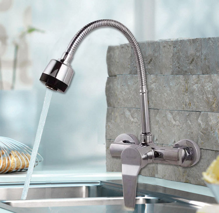 2018 Dual Holder Wall Mount Kitchen Faucet Kitchen Brass: High Quality Brass Dual Hole Wall Mounted Kitchen Mixer