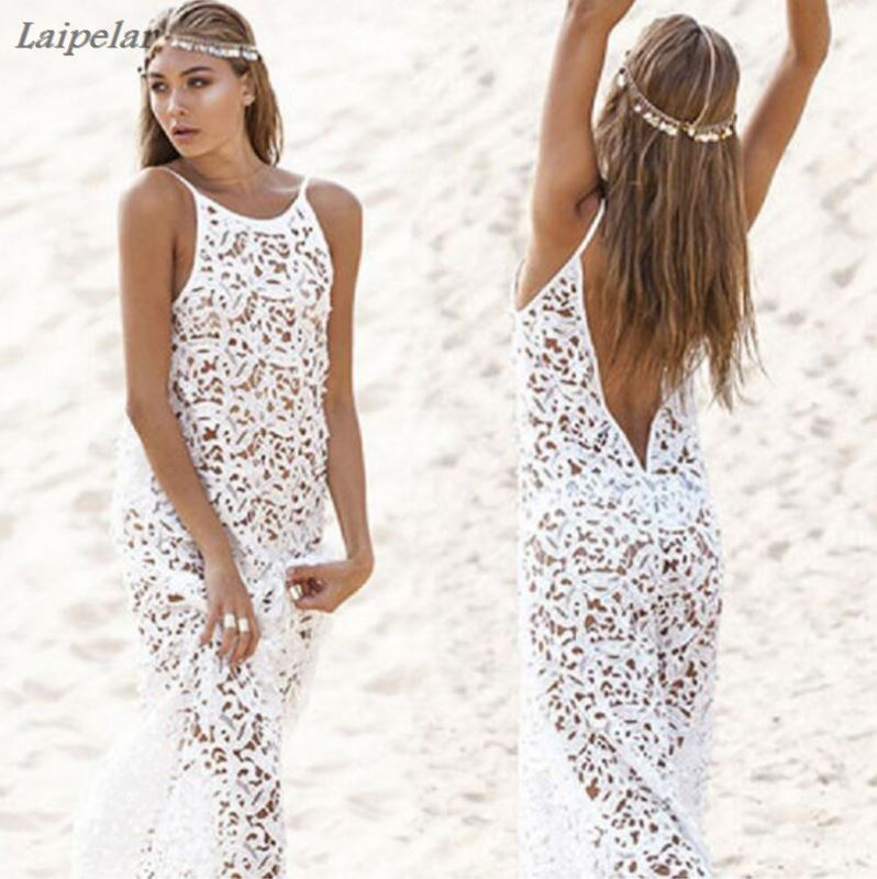 Summer Maxi Women 39 s Dresses 2018 Female Backless Bohemian Hippie Long White Beach Dress hollow out Lace Gown Rend Boho Clothing in Dresses from Women 39 s Clothing