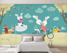 beibehang papel de parede Custom modern classic 3d wallpaper stereo hand-painted rabbit children room background papier peint