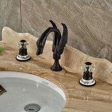 Керамические Латунная Ручка Бассейна Кран Широкое Масло Втирают Бронзовый Ванная Комната Смесители На Бортике