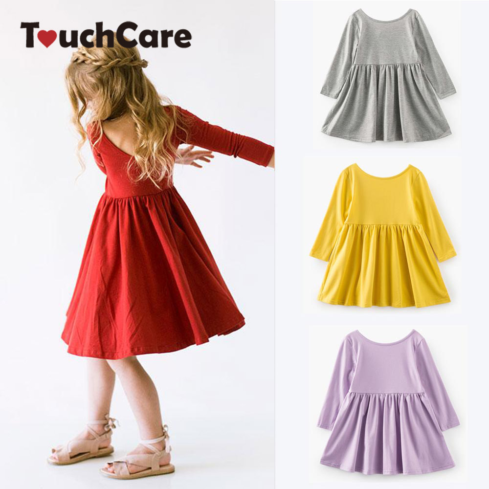 Self Designed 0-8 Years Girls Dress Kids Backless Costume Clothes Girls Spring Autumn Pleated Princess Dresses Robe