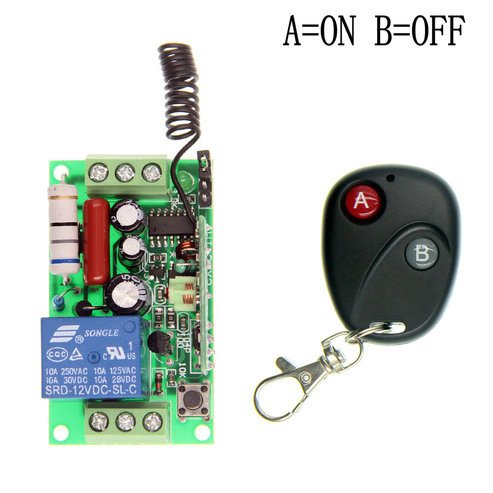 AC 220V 110V 1 CH 1CH RF Wireless Remote Control Switch System,315/433.92 MHz Transmitter + Receiver,Latched (A-ON,B-OFF) new ac 220v 30a relay 1 ch rf wireless remote control switch system toggle momentary latched 315 433mhz