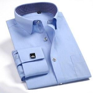 Image 1 - Мужская классическая рубашка под смокинг, формальная деловая рубашка с длинными рукавами и французскими манжетами на пуговицах, свадебная одежда