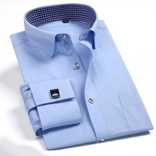 Camisa de vestir francesa con botón para hombre, camisa clásica de manga larga, de esmoquin Formal de negocios, con gemelos, ropa de boda