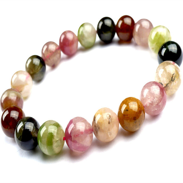 11mm Genuine Natural Mix Colors Tourmaline Quartz Crystal Round Beads Jewelry Stretch Charm Bracelets For Women