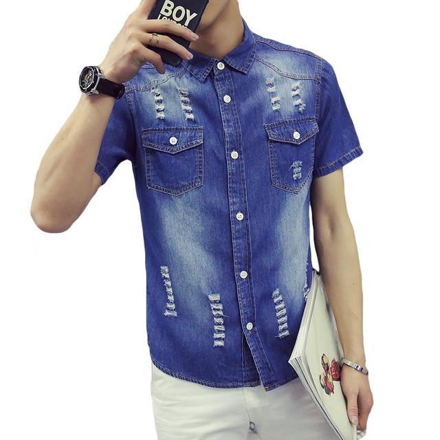 2fdf1cfe19c New Men s Short Sleeve Shirt Hole Design Slim Fit Men Denim Shirts Two  Pockets Black Blue