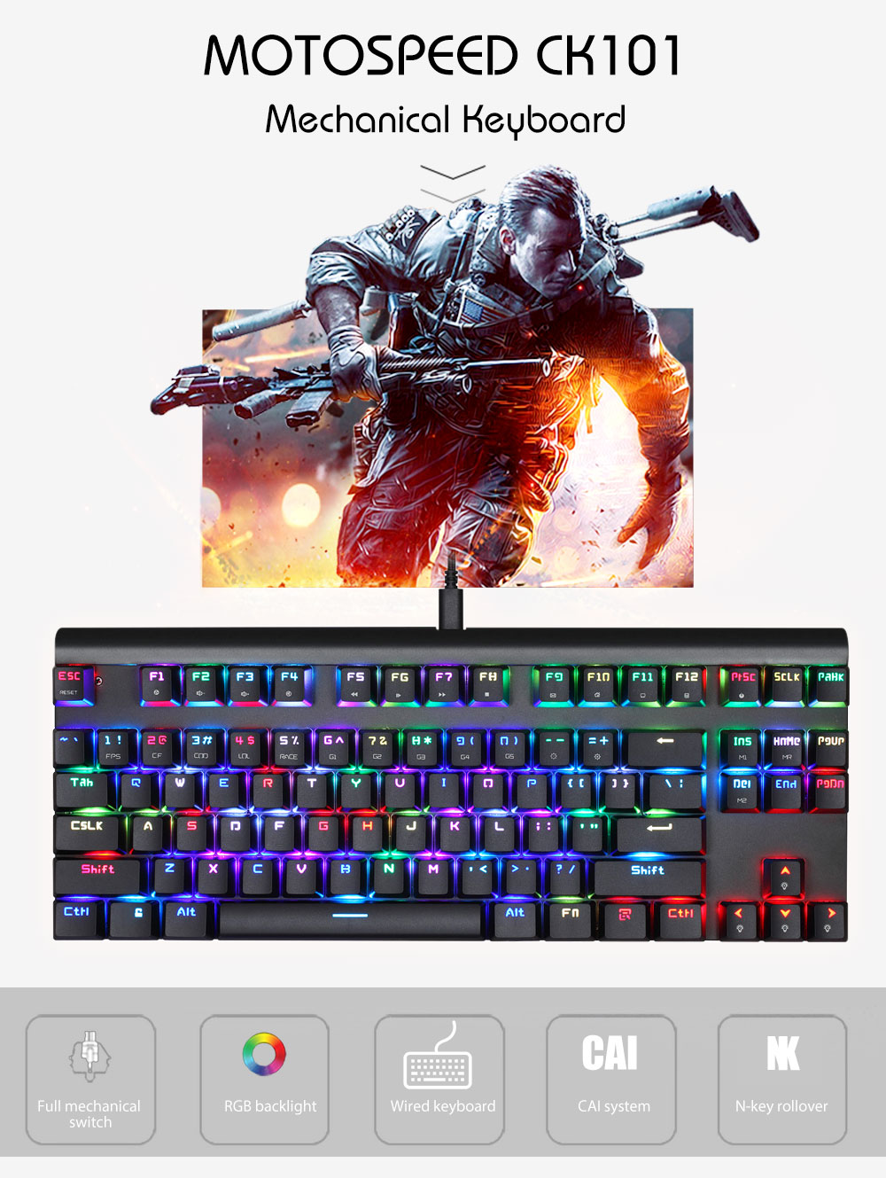Original Motospeed Ck101 Nkro Wired Mechanical Gaming Keyboard Rgb Keyscan Wiring Diagram Press Fn Ins Keys Can Change Backlight Modes Support Full Without Conflict Extremely Fast Response Speed With Custom Switches