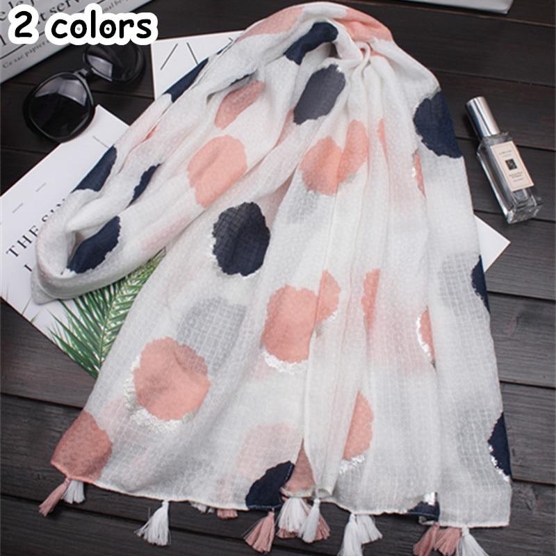 2018 new scarf polka dot shawl tassel silver print women popular muslim dot hijab scarfs fashion brand muffler hot sale