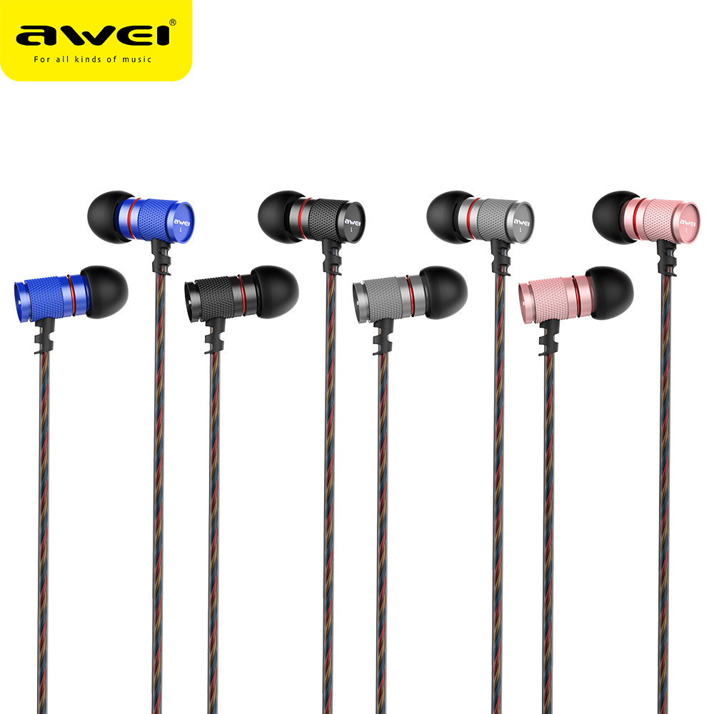 AWEI ES-660I Metal 3.5mm Jack In-Ear Noise Isolating Mic Super Bass Earphone auriculares oordopjes Dropshipping April01