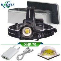 XHP70 lampe frontale puissante rechargeable usb led head lamp 18650 xhp70 headlamp zoom headlight waterproof head torch lantern
