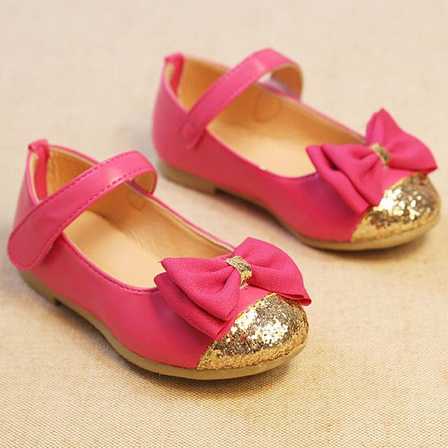 Moda Glitter Crianças Meninas Sapatos Nó Borboleta Bebê Meninas Apartamentos Sapatos com Tira No Tornozelo Sapatas Dos Miúdos Subiu Bege Marinha