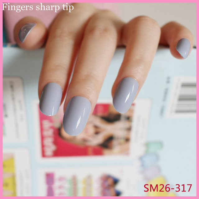 24 Pcs Set Long Round Head Blue Gray Fake Nails Candy Color Solid