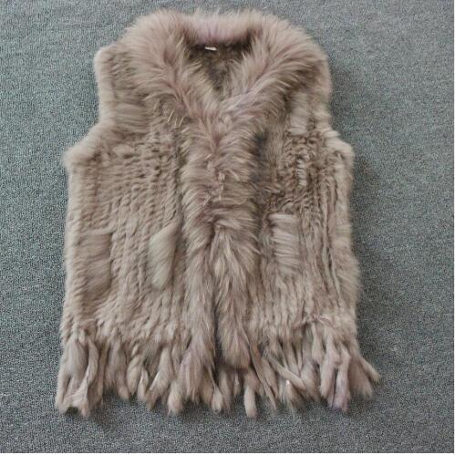 Harppihop Free shipping womens natural real rabbit fur vest with raccoon fur collar waistcoat jackets rex