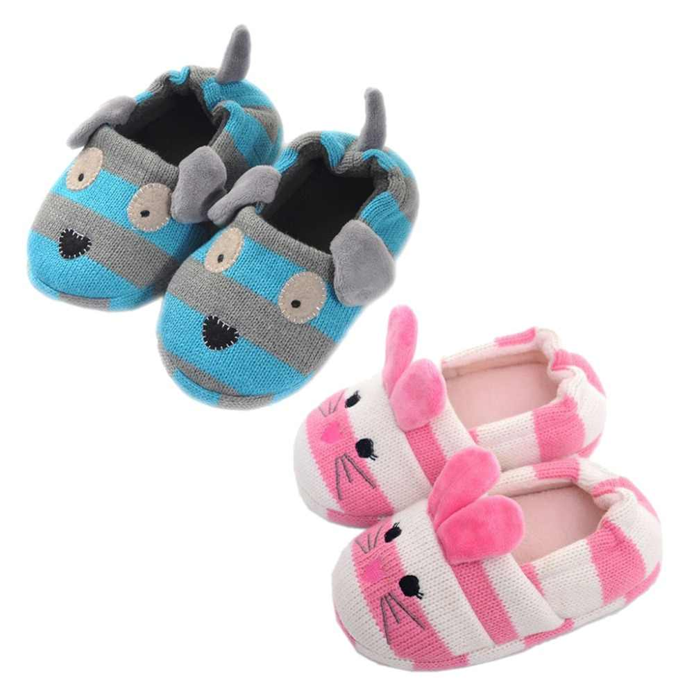 4062cd091 Winter Cute Cartoon Rabbit Knitted Striped Slippers Candy Color Non-Slip  Plush Lining Warm Home
