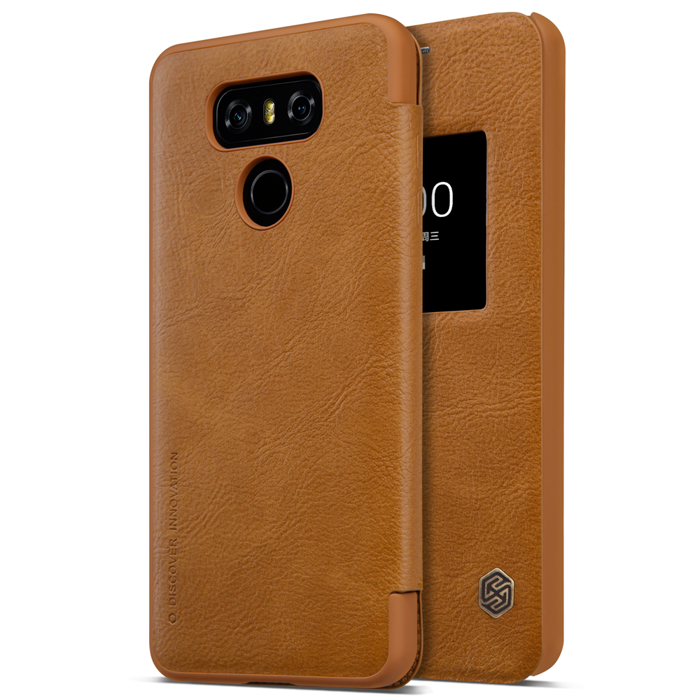 brand new c84a4 d6ab9 US $9.99 30% OFF|Original Nillkin for LG G6 Superior Natural Texture  Leather Case for LG G6 5.7 inch Flip Smart Cover Sleep/Wake Up Phone  Shell-in ...