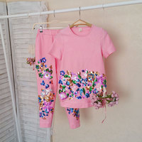 High Quality 2018 Summer New Children Clothing Family Fitted Sports Suit Sequin Jacket Mother Daughter Girl