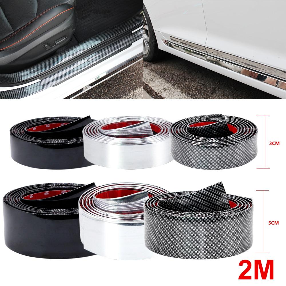 2M Car Stickers Carbon Fiber Film Rubber Moulding Trim Strip DIY Door Edge Guard Protector 3 Colors For Car Styling Accessories