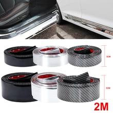 2M Auto Aufkleber Carbon Faser Film Rubber Moulding Trim Streifen DIY Tür Rand Schutz Protector 3 Farben Für Auto styling Zubehör