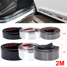 2M Car Stickers Carbon Fiber Film Rubber Moulding Trim Strip DIY Door Edge Guard Protector 3 Colors For Car Styling Accessories