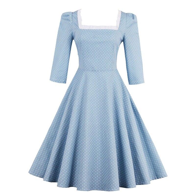 Sisjuly Women Summer Dress Light Blue Polka Dot Female A Line Squar Neck Dresses Short Sleeve