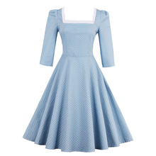 Sisjuly Women Summer Dress Light Blue Polka Dot Female A-line Squar Neck Dresses Short Sleeve Knee-Length Female Girls Dresses