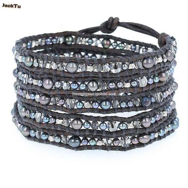 black glass pearl mix crystal black bracelet men