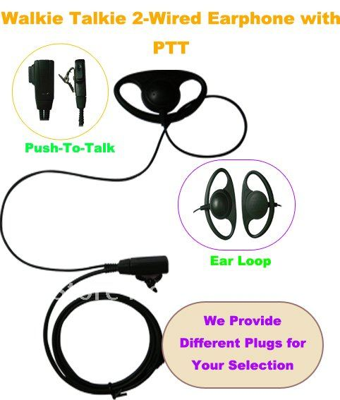 Freeship CB Radio Headphone Fashionable Walkie Talkie 2 Wire Earpiece /MIC With PTT (Push To Talk) Headset For Portable Radio