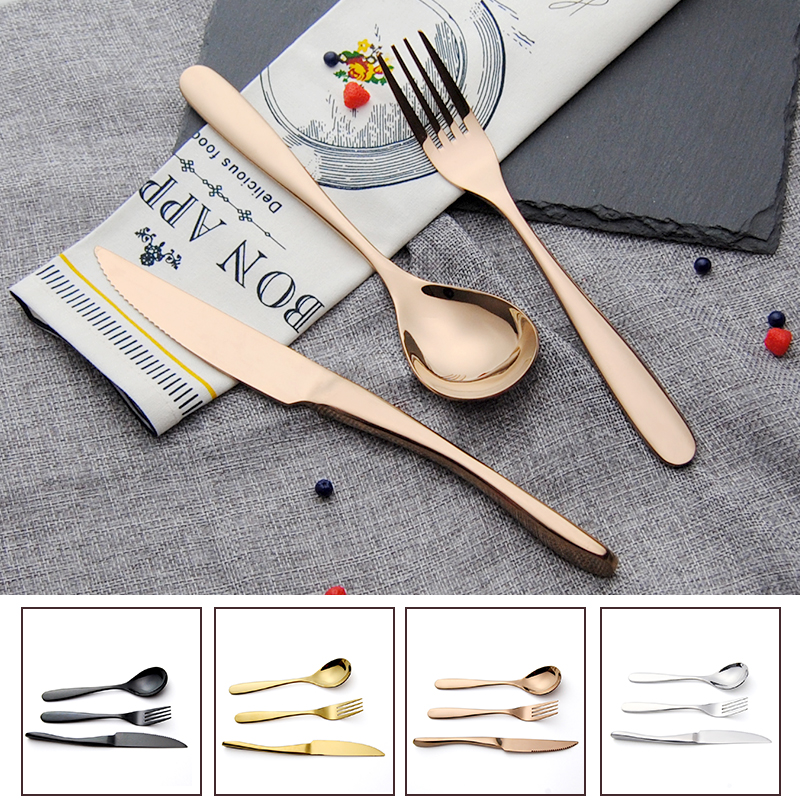 3Pcs/<font><b>Set</b></font> Rose Gold Plated Stainless Steel Black Tableware Excellent Quality Cutlery <font><b>Sets</b></font> <font><b>Dinnerware</b></font> <font><b>Set</b></font> <font><b>Knives</b></font> Forks TeaSpoons