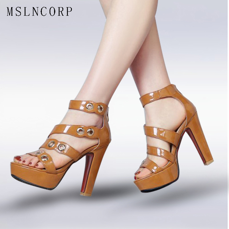plus size 34-50 Women Sandals High Heels Summer Fashion Buckle Female Gladiator Sandals Platform Shoes Woman Party Pumps Boots plus size 34 46 fashion women summer high heels sandals ankle boots party sexy pumps peep toe buckle strap gladiator roman shoes