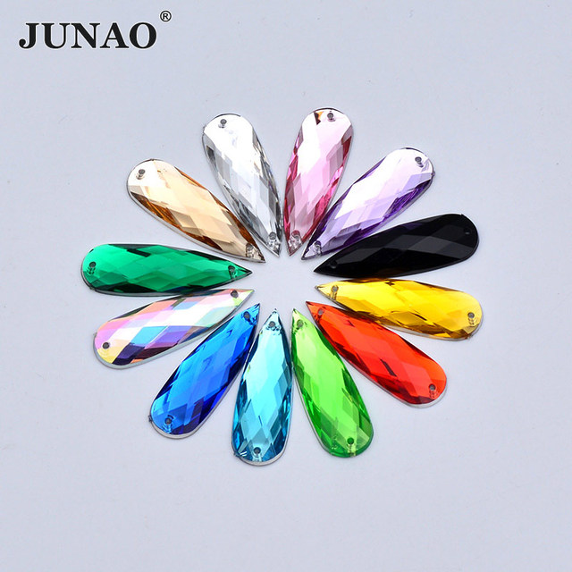 JUNAO 10 30mm Sewing Mix Color Crystals Big Drop Rhinestone Sew On AB  Crystal Stones Flat Back Clear Acrylic Strass For Clothes 51caa69ed8d0