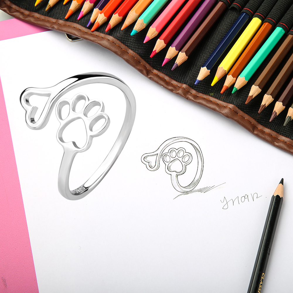 finger adjustable ring Puppy Dog Paw Open dog pet paw fashion jewelry accessories 925 sterling silver rings for women girls