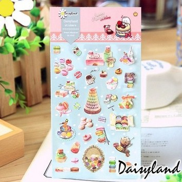 1pcs/lot  New Sweet Macaron Paper Stickers DIY Multifunction Diary Stickers Stationery Office School Supplies   DL.1022