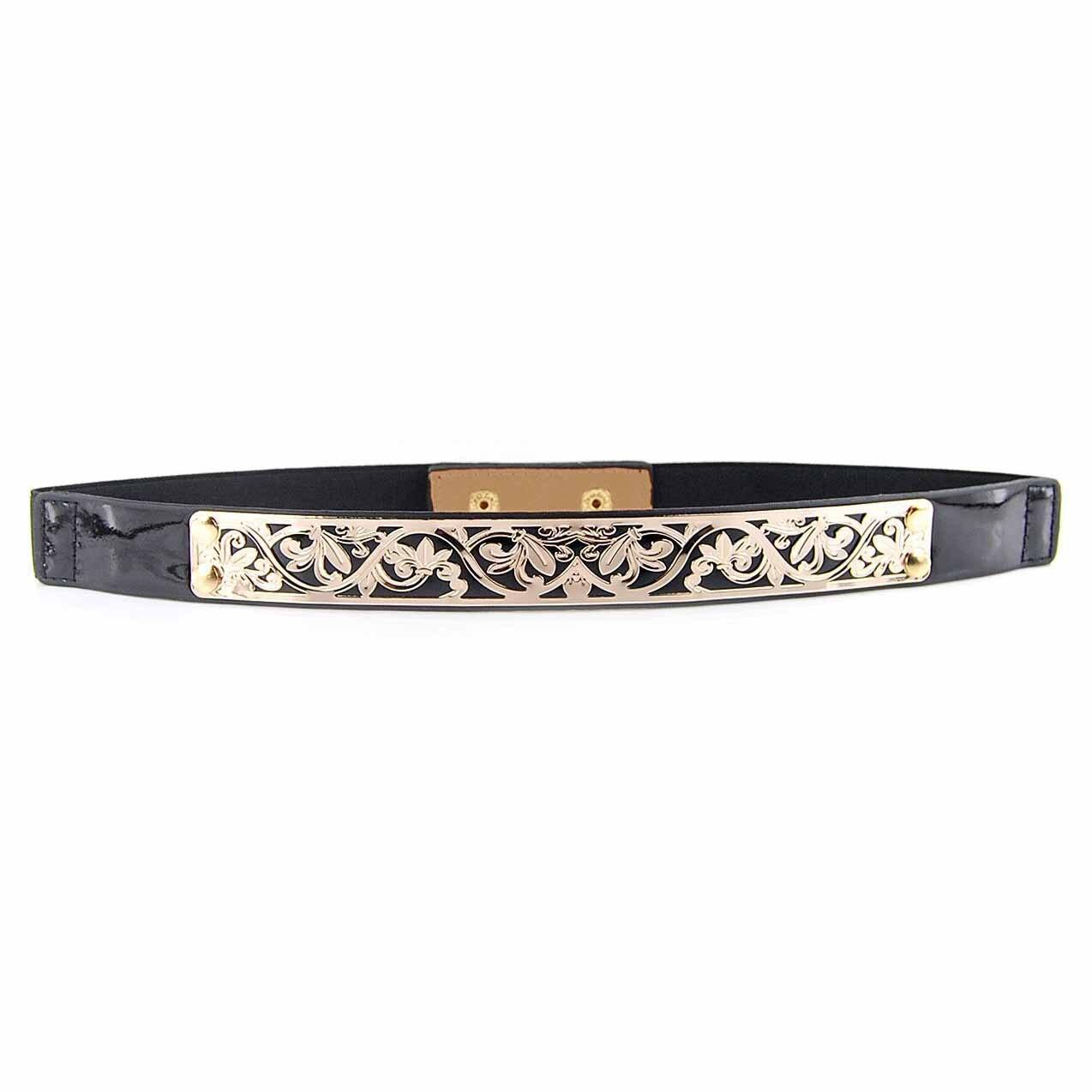 SYB 2016 NEW Black Stylish Flower Carved Openwork Elastic Slender Waist Belt