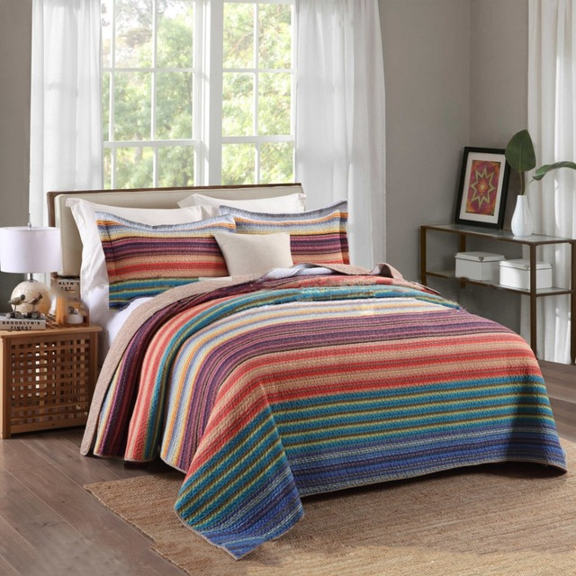 Chausub Rainbow Color Summer Quilt Set 3pcs 100 Cotton Quilts