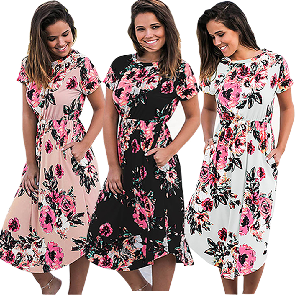 Bohemian Floral Print Pleated Mid-Calf Women Dress 2018 Flower Autumn Boho Tunic Dresses Pockets Femme GV879-B