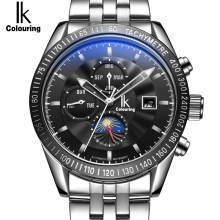 IK 2017 Moon Phase Date Week Month Automatic Mechanical Men's watch Luxury Top Brand Stainless Steel Man Sports clock hombre