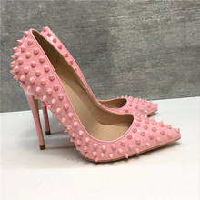 Free shipping  fashion women pumps Casual pink studded spikes pointed toe high heels shoes 12cm 10cm 8cm Stiletto heeled fashion sweet women 10cm high heels pumps female sexy pointed toe black red stiletto high heels lady pink green shoes ds a0295