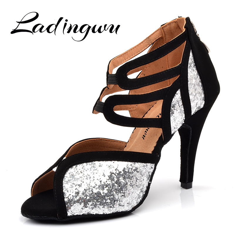 Ladingwu Roman boots Latin Dance Shoes Girls leather sole US3.5-12 white black color Flash and suede shoes women